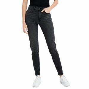 American Eagle High Rise Mom Jeans - Dark Black Wash - size 16